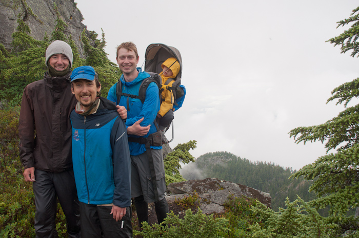 Kyle was not letting go of me again. With Peter and Ryan on Mt. Unnecessary. Photo by Colin Alexander